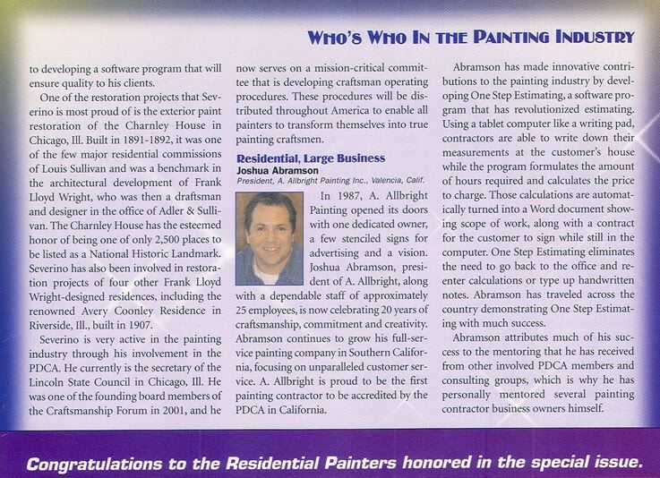 Article inside American Painting Contractor
